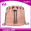 hot sale new products China leisure fashion weave PU leather girls drawstring bucket bag