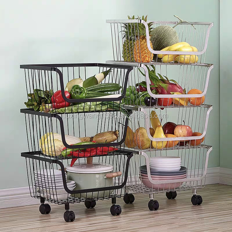 Rolling Stackable Baskets, 4 Tiers Wire Organizer Basket with Lockable Casters, Fruit Vegetable Produce Metal Storage Bin