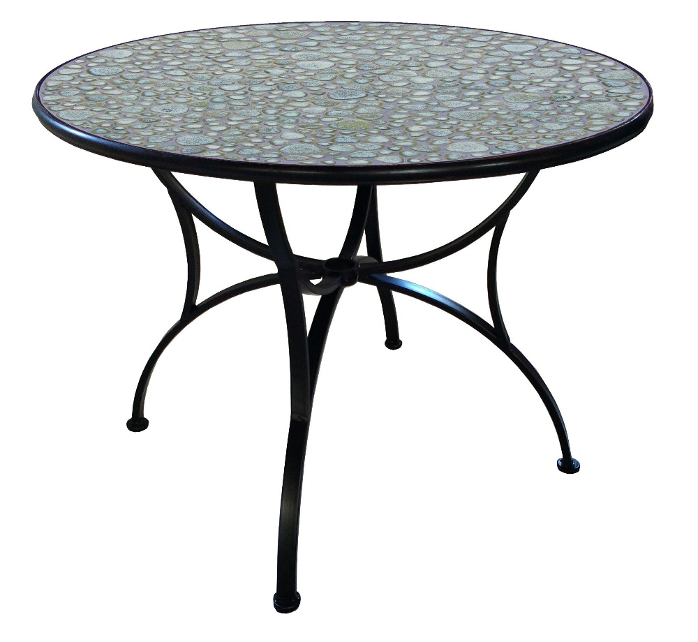 HOT SALE garden outdoor furniture aluminium tube mosaic bistro table