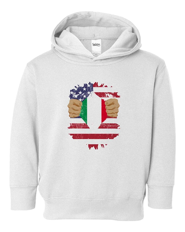 Societee Italian American USA Italia Pride Flag Youth & Toddler Hoodie Sweatshirt