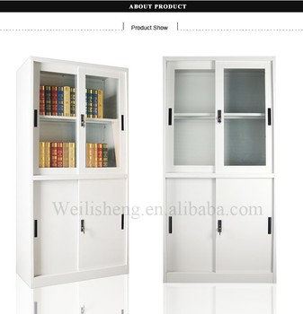 Modern Sliding Door Bookcase With Glass Display