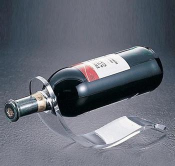 Clear Acrylic Single Wine Bottle Holder Display Rack Custom Stepped Black Tabletop