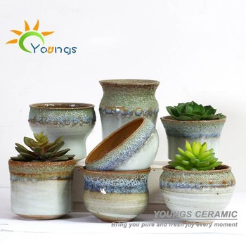 100 Handicraft Chinese Colour Glazed Mini Ceramic Flower Pots Planters For Succulent Plants