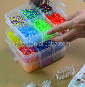 Customized PP plastic box rainbow bracelet loom /elastic small rainbow rubber loom rubber bands bracelet