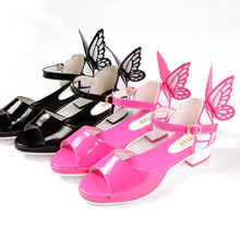 2016 Summer Kids Girls Sandals Shoes Children Butterfly Wings Fashion Shoes Big Girls High heeled Princess