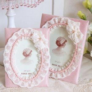 Южнокорейского импорта покупке ультра-дешевый нежный принцесса розовый кружевной ткани фоторамка / свадебный подарок рамка