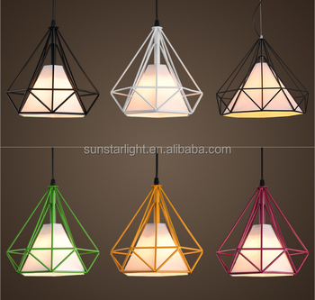 colorful pendant lighting. Colorful Birdcage Pendant Lampu Modern Skandinavia Minimalis Art Pyramid Besi Liontin Cahaya Berlian Restoran Kreatif Lighting O