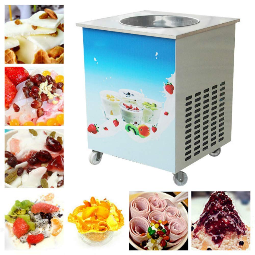 Ice Cream Maker, Enshey Single Round Pan Fried Ice Cream Roll Machine, Commercial Fried Milk Yogurt Machine 110V (Shipping from US)