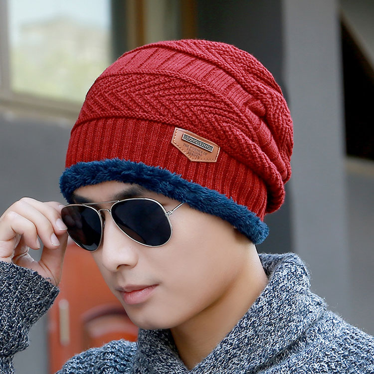 Jacquard And Applique Style Plus Velvet Winter Knitted Beanie Hat