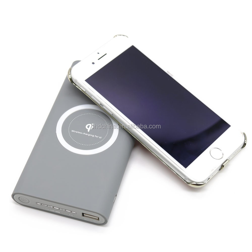Qi Standard & Qualcomm Quick Charge 3.0 Wireless Charger Polymer Power Bank 10000 mAh for Samsung