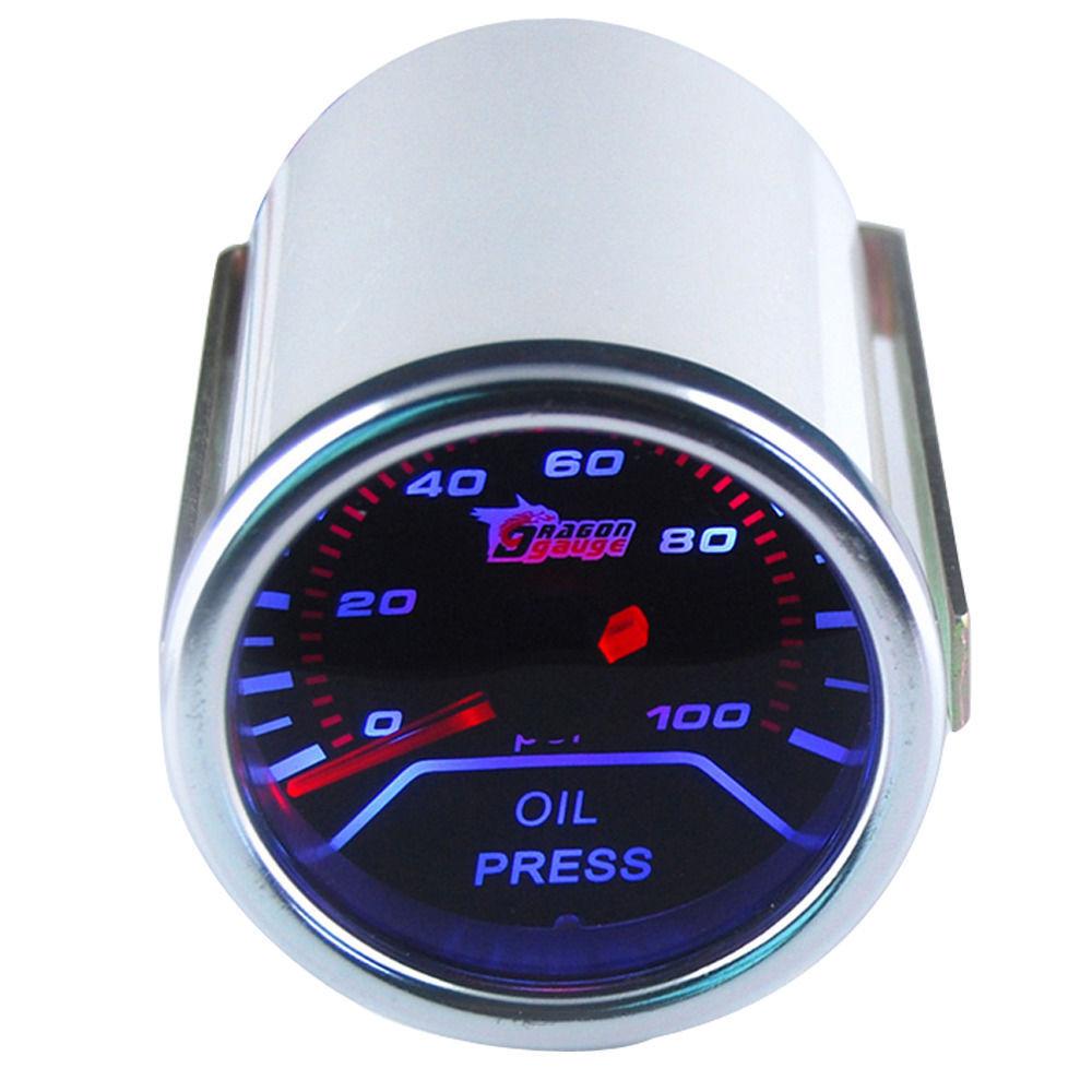 "2/"" 52mm Car Universal Pointer Oil Press Pressure Gauge Meter Smoke Tint Len LED"