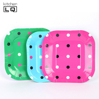 Colourful Square Disposable Paper Plates Birthday Party Decoration Cake Plate Barbecue Dish Tableware Kitchen Party Plates