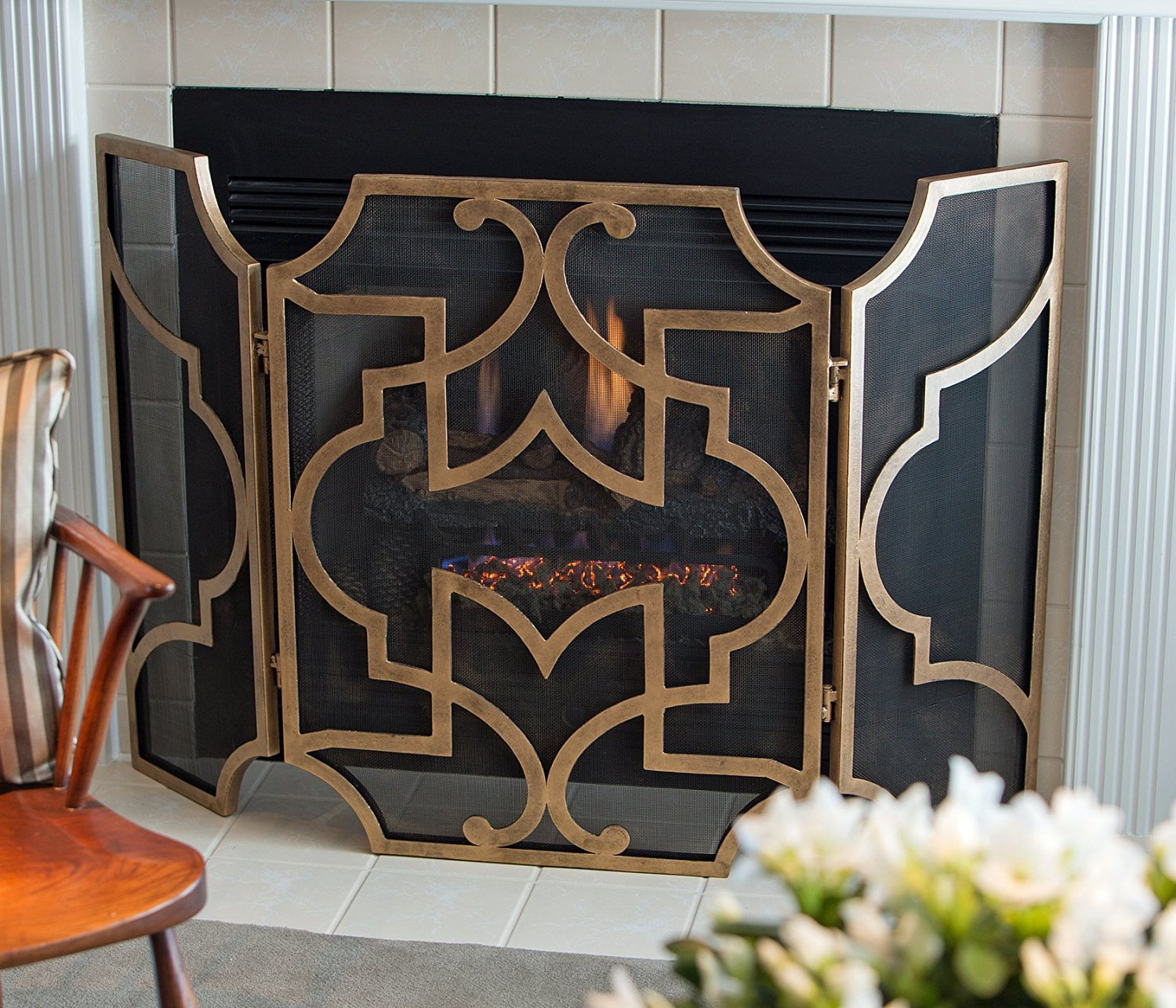 Get Quotations Fireplace Screens Chinese Chippendale Screen Antique Gold