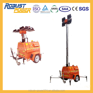 Vertical Hydraulic Mast LED 480~1000W Light Tower Genset Construction Infrastructure Equipment Machine Robust Chassis GPS System