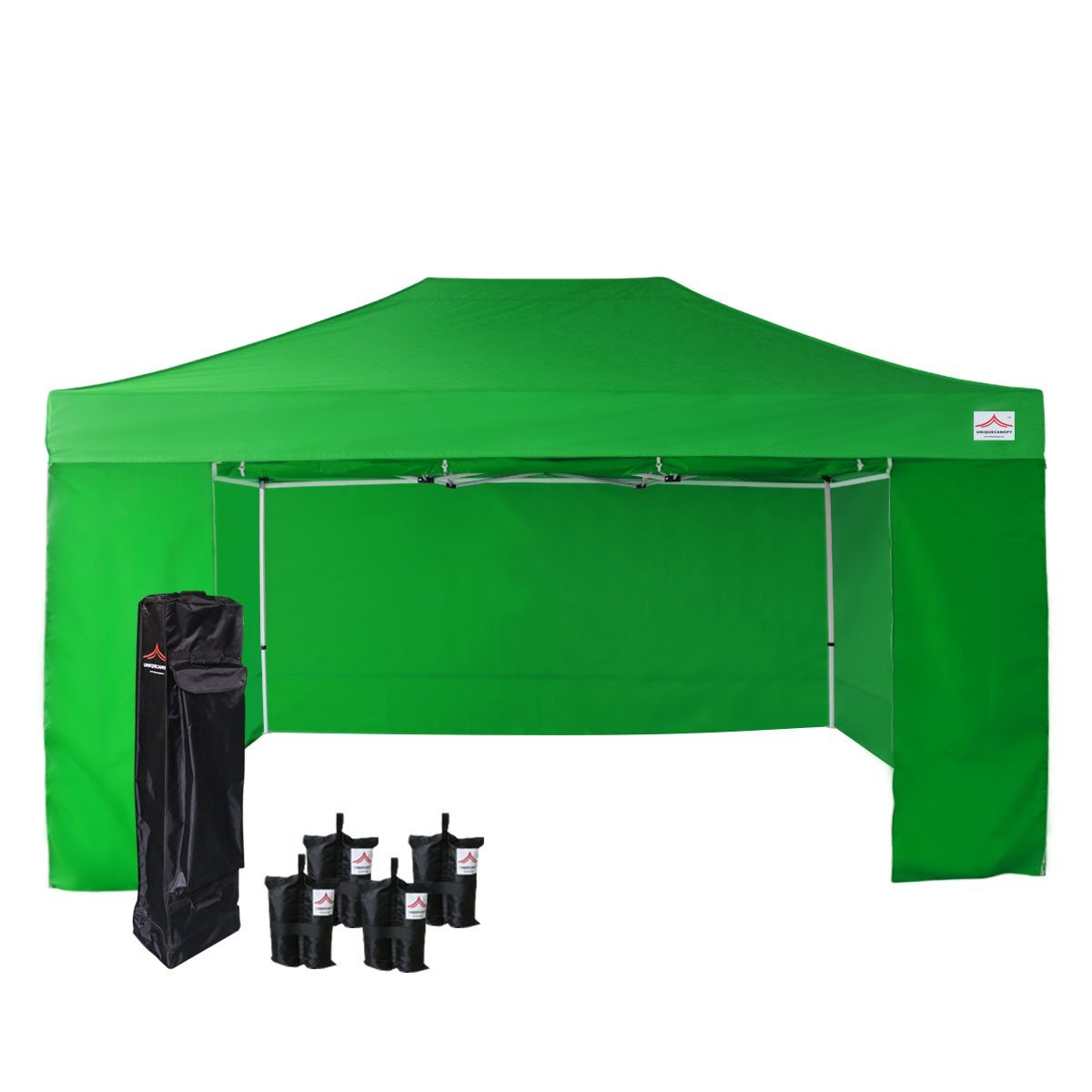 UNIQUECANOPY 500D Enhanced 10x15 Ez Pop up Canopy Portable Folded Commercial Canopy Car Shelter Wedding Party Show Tent with 4 Zippered Side Walls and Wheeled Carrying Bag Green