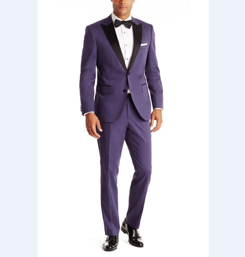 Chaqueta + Pantalones) WB130 collar negro Purple formal prom fiesta ...