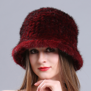 71e9b039516 Wholesale Funny Custom Bucket Mink Fur Knit Women Winter Hat ...