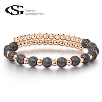 George Smith Fashion Jewelry bangles Elegant Black Beads Women Bracelet Rose Gold color
