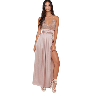 Sexy Evening Party Night Club Woman Fashion Casual Silky Ladies Gold Sequined Maxi Dress Party