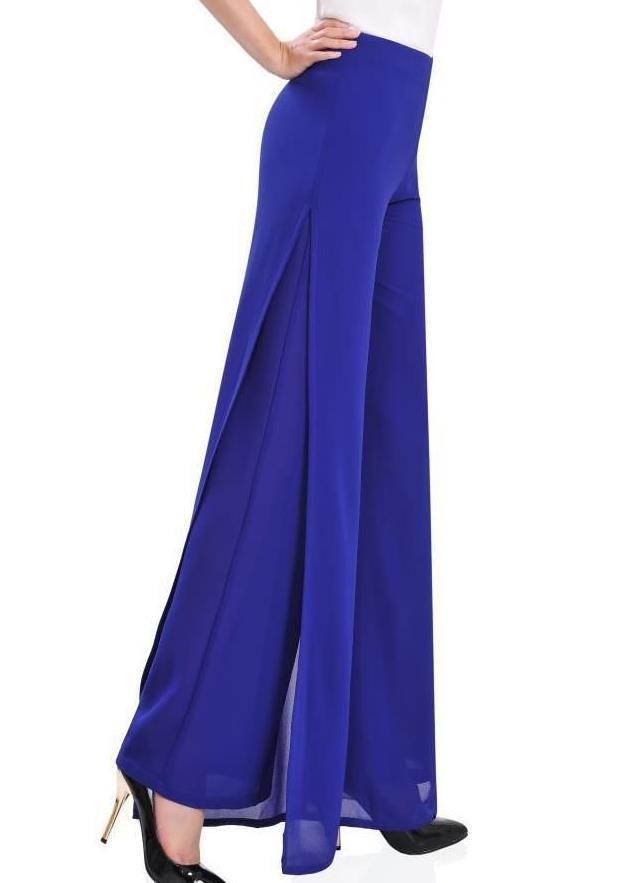 2e5d4c98159a Get Quotations · 2015 summer Women casual high waist chiffon dress pants  Fashion slim trousers Ladies side split wide