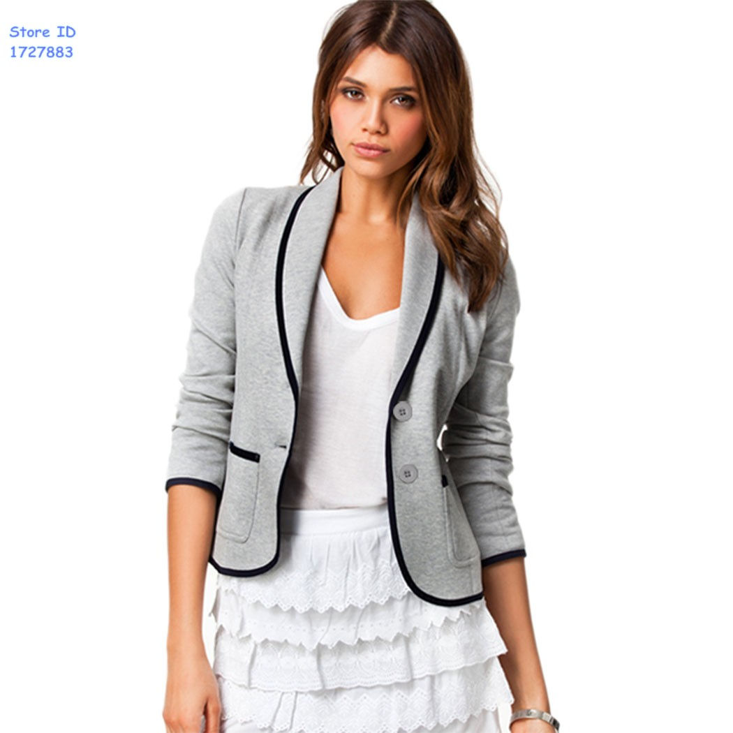17a177a4a09d9 Get Quotations · Fashion Autumn Gray Blazer Jackets Coat Blazer Women Slim  Design Short 2015