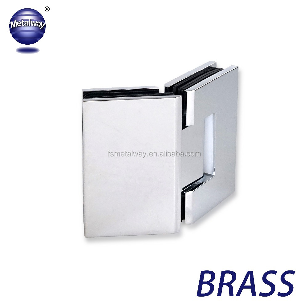 135 Degree Glass to Glass Shower Door Hinge / Bathroom Clamp | Brass | Square Edges