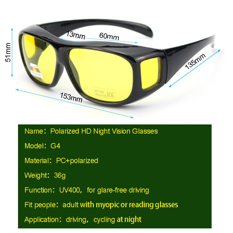 Fashion Unisex Driving HD Night Vision Wraparounds Sunglasses Fits Over Glasses Polarized Driving Night View Sunglasses