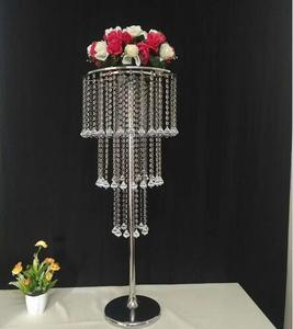 crystal hanging centerpieces clear crystal wedding lead road flower decoration pillar crystal stand