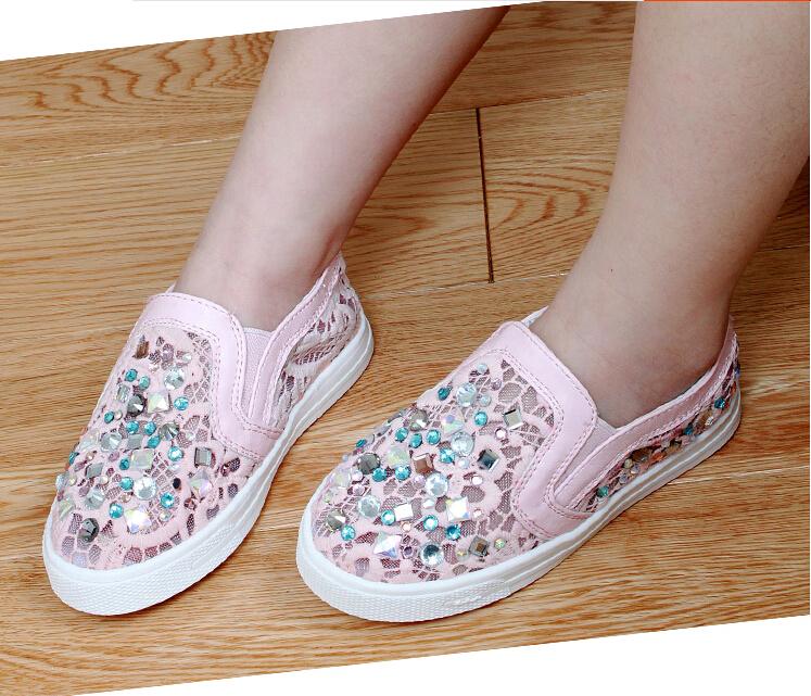 2016 Summer New Girls Korean Design Luxury DIY Rhinestone Children White Single Shoes Breathable Mesh Pierced