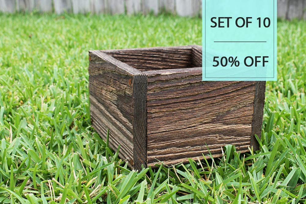 "Bulk Set of (10) 4"", 5"", 6"" Square Rustic Farm Planters Box (3.25"" - 3.75""T - Short Version)"