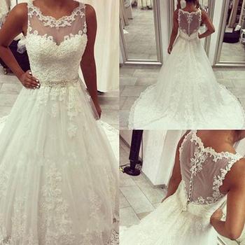 f4244c215 LL094 brillante blanco puro tul Organza Apliques de encaje botón boda  vestidos Sexy ver a través