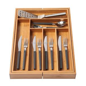 Bamboo Drawer Organizer Kitchen Adjustable Drawer Divider Expandable Cutlery Tray Utensil Storage Organizer