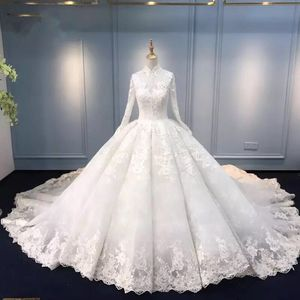 Modest Long Sleeves Pricess Wedding Dresses High Colar Pretty Lace Appliqued Tulle Muslim Bridal Gowns