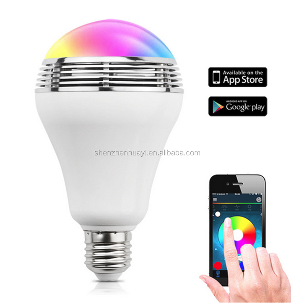 E27 Wireless bluetooth speakers mp3 player smart led ceiling speaker light bulb Colorful music Lighting for iphone xiaomi