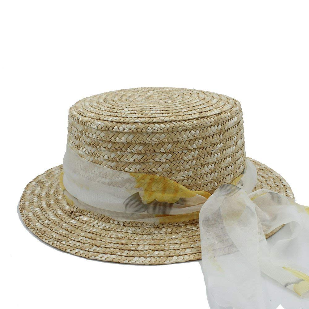 3240f8174a183 Get Quotations · Ruanyi New Wool Boater Flat Top Hat For Women s Felt Wide  Brim Fedora Hat Laday Prok
