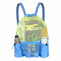 Mesh Swimming Bag Drawstring Backpack Beach Sports Gear Swim PE Gym Equipment Bag Sack Pack Unisex