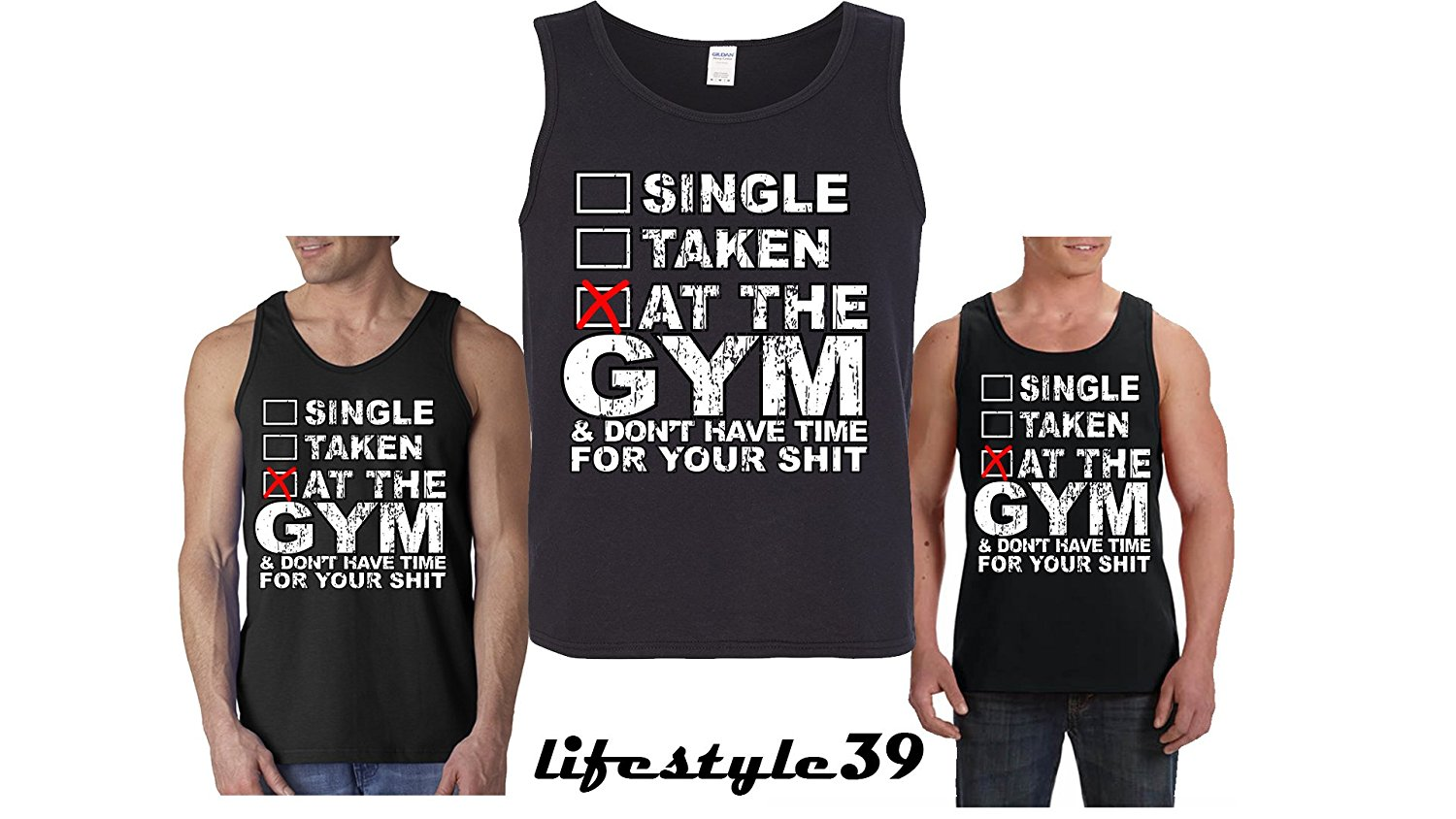 67b7c7b4e8 Get Quotations · Single Taken At The Gym Tank Tops Gym Tank Tops Funny  Men's Workout Shirts Funny Shirts