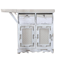 Custom White Solid Wood Folding Wood Ironing Boards Cabinet with Wicker Basket