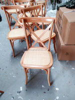 Cross Back Rattan Top Wooden Dining Chair
