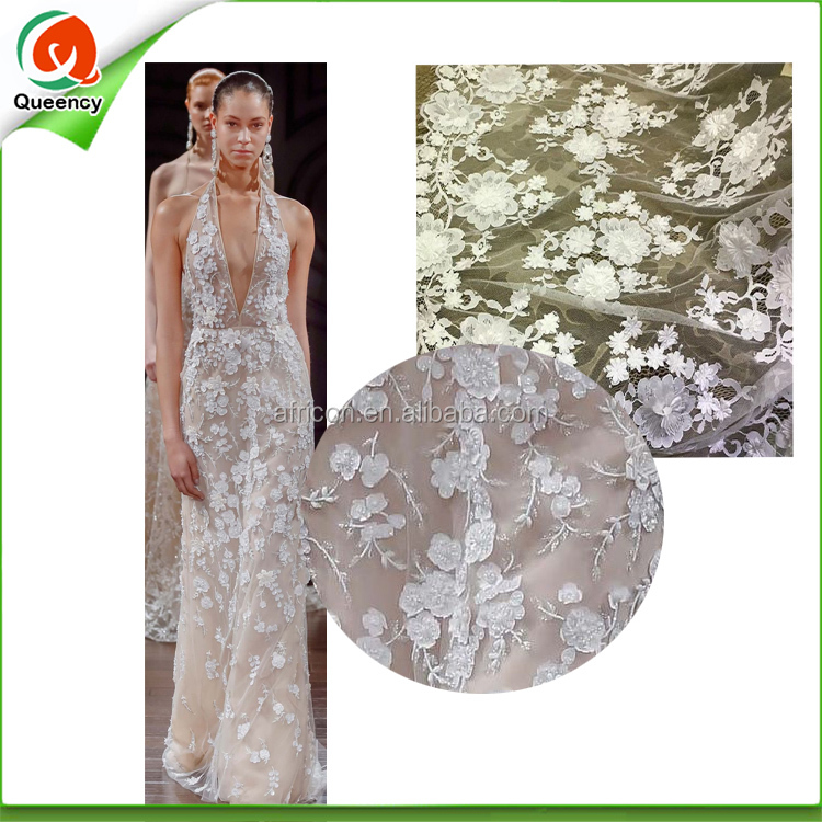 white bridal dress fabric french lace fabric guangzhou embroidery lace for dress