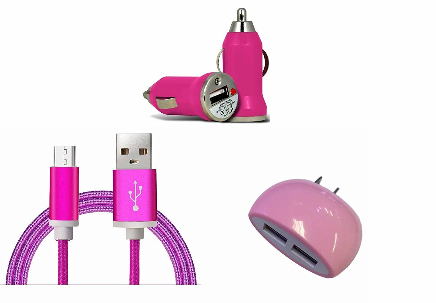LG V20 Pink Charging Combo Pack includes 3 Ft. Reversible Type C Cable , Dual USB Wall Home Charger and Car Charger