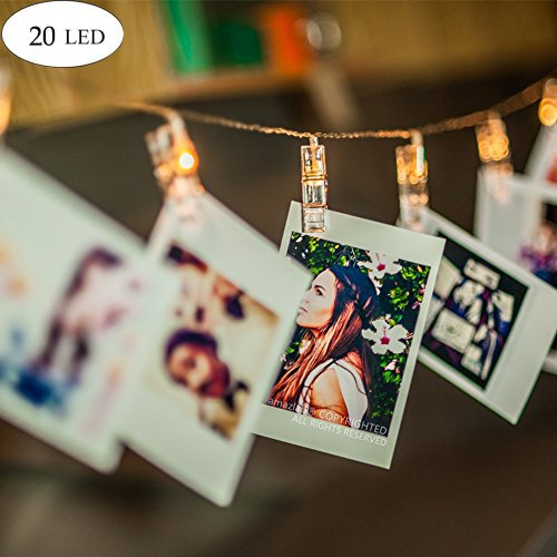 KNONEW LED Photo String Lights -20 Photo Clips 5M Battery Powered Picture Lights for Fairy Twinkle Lights, Wedding Party Christmas Home Decor Lights Hanging Photos, Cards and Artwork (Warm-white)