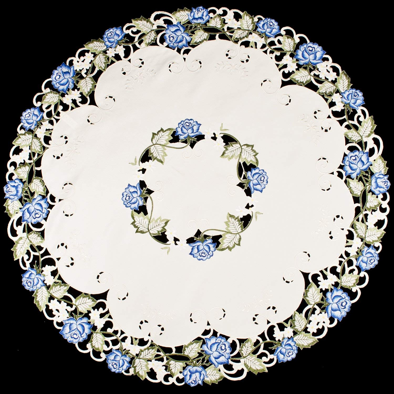 "Linens, Art and Things Embroidered Blue Rose Ivory Table Topper Tablecloth 36"" Round Doily Table Topper"