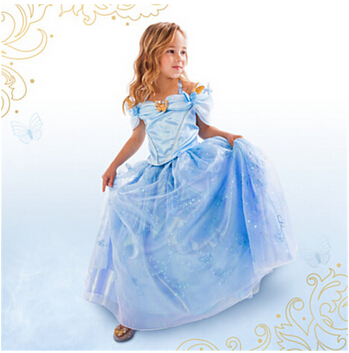 Newest Cinderella Kids font b Dress b font 2015 Cinderella Cosplay Costume Girl Princess font b
