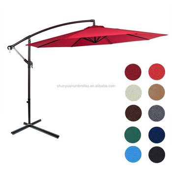 10 Ft Patio Umbrella Uv Protection Water Resistant Hanging Garden Cantilever