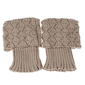 Socks - SODIAL(R)Women Crochet Knitted Trim Boot Cuffs Toppers Liner Leg Warmer Socks Color:Beige