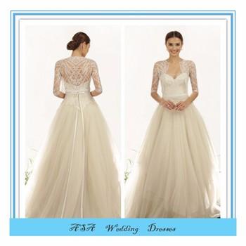 Elegant White Ivory Bridal Dresse French Lace Beaded 3 4 Sleeve