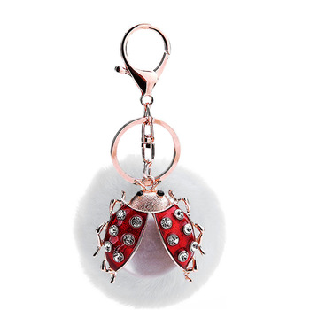 PO000222 WT Yiwu fur ball beetle pendant wholesale insect pompom key chain for bag or phone