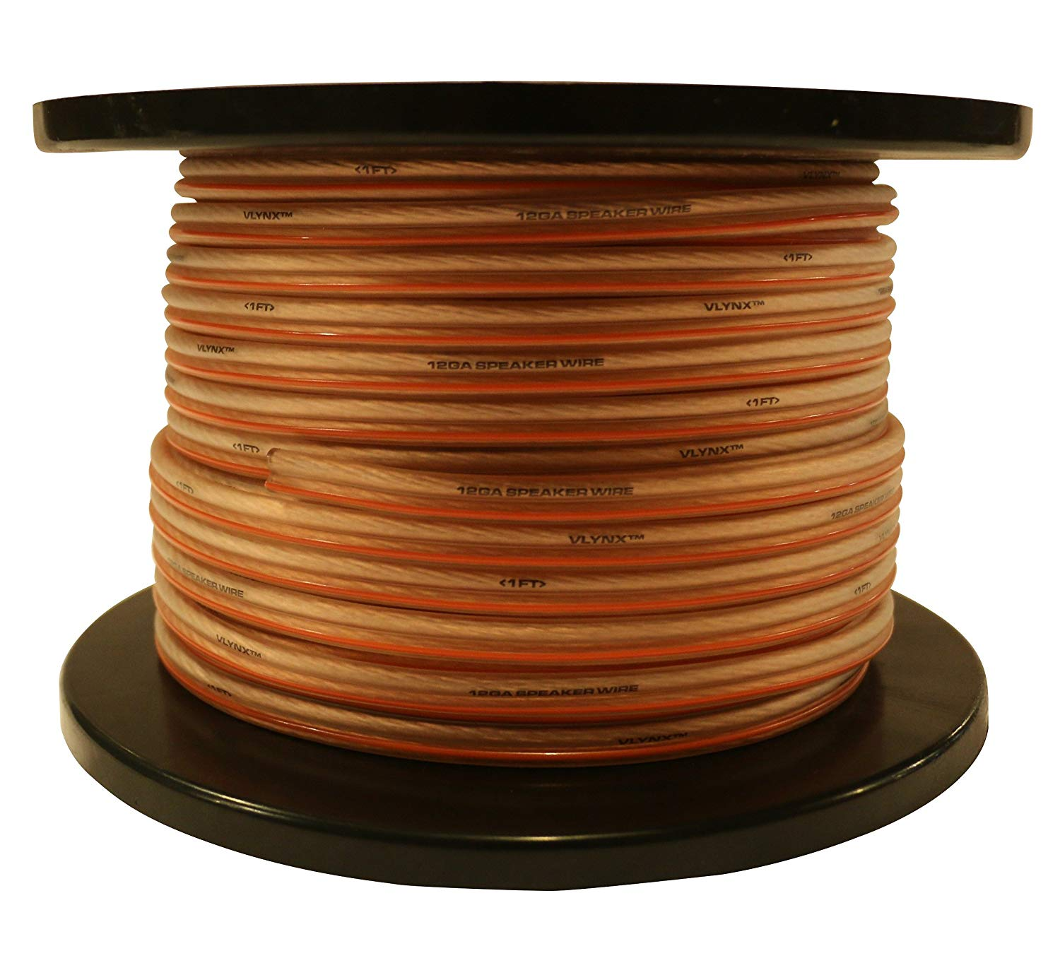 12Ga - 400ft (2 x 200ft) VLYNX Premium 12 Gauge 400 Feet True 12AWG Vlynx Speaker Cable Wire., Flexible, 12AWG-400' Speaker Cable Spool [Positive (+) is marked with a line]
