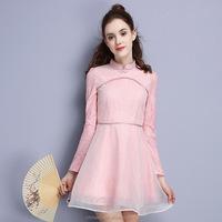 Winter chinese traditional elegant plain velvet cheongsam dresses for women